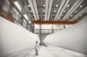 Wind blades ready for finishing at an LM Wind Power blade manufacturing facility in China. (Picture courtesy of LM Wind Power.)