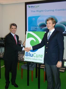 Wilfrid Gambade, President of DSM Composite Resins (left) and Alain Rynwalt, Marketing & Sales Director of AkzoNobel Functional Chemicals (right) unveil the BluCure Seal.