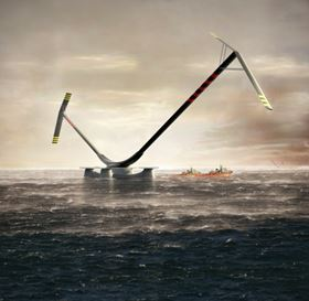 An artist's impression of the final design of 10 MW Aerogenerator X offshore wind turbine. The arm and sail structures are made from epoxy resin with carbon and glass fibre reinforcement. (Picture courtesy of Wind Power Ltd.)