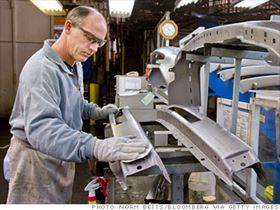 The April Bureau of Labor Statistics report reflects little change in manufacturing during the month, but an alternate report -- the April PMI Index -- showed the manufacturing economy increased for the fifth consecutive month.  (Photo courtesy of Norm Betts/Bloomberg News.)