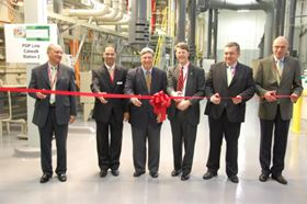 At the ribbon-cutting ceremony (from left): Pablo Nieto; Kuldip Johal; Rock Hill Mayor Doug Echols; Chuck Bundy, South Carolina Department of Commerce;  Reinhard Schneider; and Gertj van der Wal.