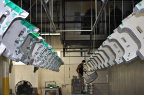 With an overhead, conveyorized, powder coating operation beginning with a seven-stage wash system, Watry is able to process parts up to 36 by 54 by 54 inches with weights up to 100 pounds or more.