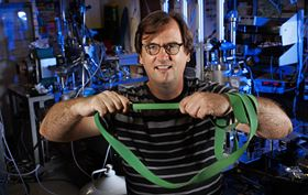 Christian Binek has found that the elasticity of a material can be predicted from its magnetic properties and that magnetism, in turn, might be tailored or applied to control elasticity. Photo: Craig Chandler/University Communication/University of Nebraska-Lincoln.