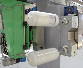 Filament winding a glass fibre composite CNG cylinder. (Picture courtesy of VEM SpA.)