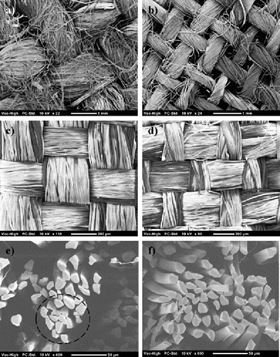 SEM images of the plain weave textiles: (a) flax, (b) hemp, (c) silk A, and (d) silk B. SEM images of cross-sections of silk rovings and fibres in (e) and (f).