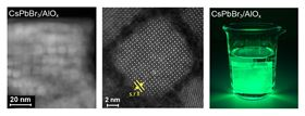 (Left and center) Electron microscopy images of perovskite quantum dots embedded in the protective alumina matrix; (right) photo of the same film stable in water. Images: R. Buonsanti/EPFL.