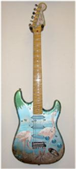 "Selective has done silk-screened images on aluminum guitars, such as this ""Flamingo"" design."