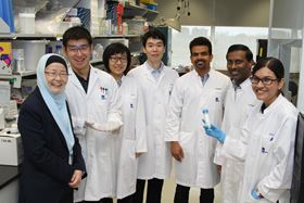 Jackie Ying (first from left) with her lab members, some of whom are former students of the IBN Youth Research Program.