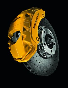 The carbon ceramic brake disc in the Porsche Cayenne is around 40% lighter than a steel brake disc. (Picutre courtesy of SGL Group.)