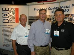 Dixie Industrial Finishing's Jim Jones (left), David Henderson (center), and Alan Morton (right) exhibiting at the Finishing Pavilion at FABTECH 2010 in Atlanta, Ga.
