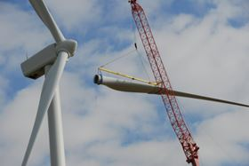 The prototype 'stealth' blade is fitted onto a Vestas V90 turbine at Swaffham Wind Park in Norfolk, UK.