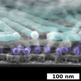 The added color in this SEM image showcases the discrete, self-assembled layers within these novel nanostructures. Image: Brookhaven National Laboratory.