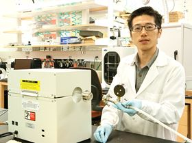 Yongping Zheng at the University of Texas at Dallas is part of a team that has developed a new catalyst material that can help expand the capacity of lithium-air batteries. Photo: University of Texas at Dallas.