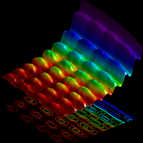Light confined on a nanowire, behaving as both particle and wave.