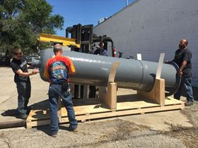 Weighing 1000 pounds, the tank measured 11 ft, 8 inches tall with a 30-inch inside diameter.