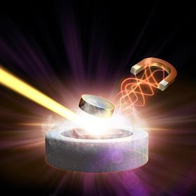 This illustration shows a magnetic pulse (right) and X-ray laser light (left) converging on a high-temperature superconductor to study the behavior of its electrons. Image: SLAC National Accelerator Laboratory.