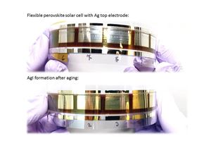 Flexible perovskite solar cell device before (top) and after (bottom) corrosion of the silver electrode. Image: Energy Materials and Surface Sciences Unit, OIST.