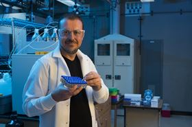 Dion Vlachos of the University of Delaware's Catalysis Center for Energy Innovation has shown that an imperfect surface may produce more effective bimetallic catalysts. Photo: Kathy F. Atkinson/University of Delaware.