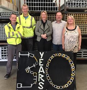 From left: Chris Foulkes, Sean Lumsden, Nicki Thelwall-Jones, Ian Middleton and Barbara Martin from Engineered Composites mark the companys 30th anniversary.