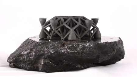 Object 3D printed from asteroid metal