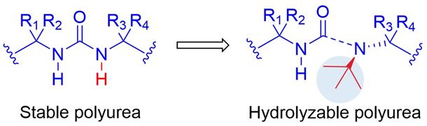 Addition of bulky substituents weakens urea bond