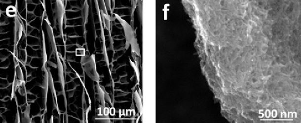 ISISA process comparison and SEM images of nanocarbon complexes aerogels, showing the evolution of Pores and cell walls structure with increasing the oxidation degree (with concentration of 20 mg/ml).