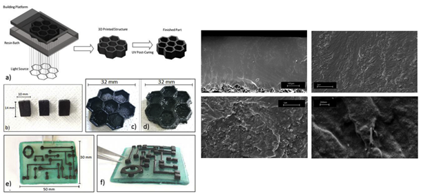 3D printed cubes, 3D hexagonal structure and circuit-like structure built on an insulating base obtained using DLP printer. FESEM images of the printed CNT-films