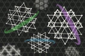 This illustration depicts a kagome metal  an electrically conducting crystal, made from layers of iron and tin atoms, with each atomic layer arranged in the repeating pattern of a kagome lattice. Images by Felice Frankel; illustration overlays by Chelsea Turner.