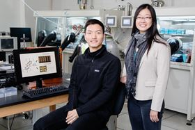 Illinois chemistry and biomolecular engineering professor Ying Diao (right) and graduate student Hyunjoong Chung (left) are part of a team that has identified a mechanism for triggering shape-memory in the organic crystals used in plastic electronics. Photo: L. Brian Stauffer.