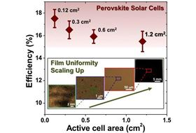 A new fabrication method has allowed researchers to make larger perovskite solar cells with few defects, helping to maintain efficiency at larger cell sizes. Image: Brown University/NREL.