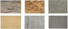 Figure 2: Useful materials for the reinforcement of bio-composites: wood fibre (top left); short flax fibres (top centre); needle punched flax mat (top right); jute plain fabric (bottom left); flax unidirectional fabric (bottom centre); flax tridimensional fabric (bottom right).
