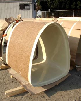 Custom sewer liner panels moulded with an outer layer of Vipel unsaturated polyester and inner layer of Vipel vinyl ester.