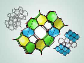 This illustration depicts three of the 43 newly predicted superhard carbon structures. The cages colored in blue are structurally related to diamond, while the cages colored in yellow and green are structurally related to lonsdaleite. Image: Bob Wilder/University at Buffalo, adapted from Figure 3 in P. Avery et al., npj Computational Materials, Sept. 3, 2019.