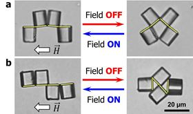 Figure 1: Sequence-encoded dynamic reconfiguration of multi-cube clusters with turning the magnetic field on and off. (a) Micro-grabber and (b) micro-mixer (the superimposed yellow lines represent the magnetic patches)