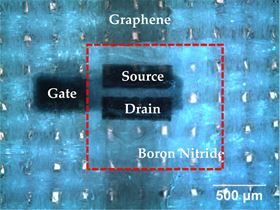 Microscopy image of a fully printed graphene/boron nitride transistor on textiles.