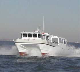 Robust GRP working catamaran from South Boats.