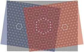 A graphene layer (black) of hexagonally arranged carbon atoms is placed between two layers of boron nitride atoms, which are also arranged hexagonally with a slightly different size. The overlap creates honeycomb patterns in various sizes. Image: Swiss Nanoscience Institute, University of Basel.