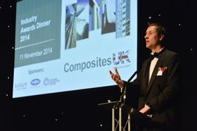Andrew Dugmore, chairman of Composites UK, presenting at the dinner.