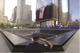 Two recessed pools and the ramps that surround them encompass the footprints of where the Twin Towers once stood.