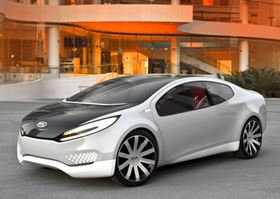 The Kia Ray plug-in hybrid concept car, introduced in February at the Chicago Auto Show, incorporates lightweight composites, recycled materials and solar cells in the roof panel.