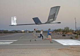 It takes three men running 30 yards to launch Zephyr.