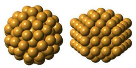 This image shows the two possible atomic arrangements of Gold-144: the predicted sphere-like icosahedral core (left) and the angular core (right). Image: Kirsten Ørnsbjerg Jensen.