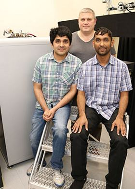 Left to right: Kamal Joshi, Ruslan Prozorov and Naufer Nusran. Photo: Ames Laboratory.