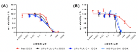 Figure 2: Cell viability after incubation of DOX-loaded NPs with (A) HeLa and (B) the multi-drug resistant KB-V1 cells after 48 h of incubation, as determined by MTT test. The half-maximal inhibitory concentration (IC50) for the DOX-loaded NPs for HeLa cells was similar to the free drug. However, DOX-loaded NPs had a profound lower IC50 value for KB-V1 MDR cells as opposed to free DOX, proving their potential for remedying drug resistance.