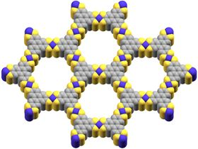 This shows the structure of the conducting metal-organic framework tested by USC scientists, with purple representing cobalt, yellow representing sulfur and gray representing carbon. Image: Smaranda Marinescu.