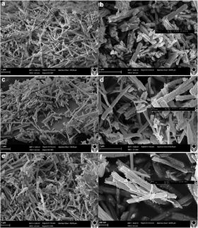Low (a, c, e) and high (b, d, f) magnification secondary electron microscope images of NiMoO4 at varying concentrations of oxidizer: (a–b) 0 g; (c–d) 1 g; and (e–f) 2 g. Images show the formation of needles (0 g) and rod-shaped particles (=1 g) with surface nodules apparent at higher concentration materials (insets in (d) and (f)).