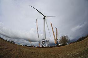 The LM blades mounted on the Alstom wind turbine. (Picture courtesy of Alstom.)