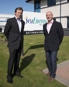 Aberdeen Business School academic Sean Huff (left) and SeaEnergy CEO John Aldersey-Williams (right).