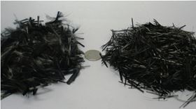 Microwave-based recycling of non-upgraded fibres (left) results in recyclate (right) that can be used in SMC compounds for new product applications. (Picture courtesy of Firebird Advanced Materials.)