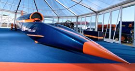 The full size BLOODHOUND SSC replica was unveiled at the Farnborough International Airshow on 19 July. (Picture courtesy of Nick Haselwood.)